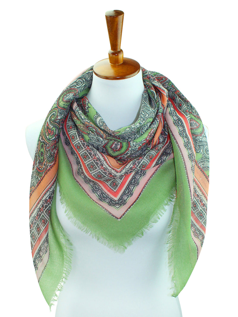 Multicolor Bright Paisley Print Square Shape Scarf