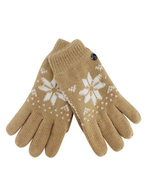Thermal Insulated Womens Snowflake Knit Winter Gloves
