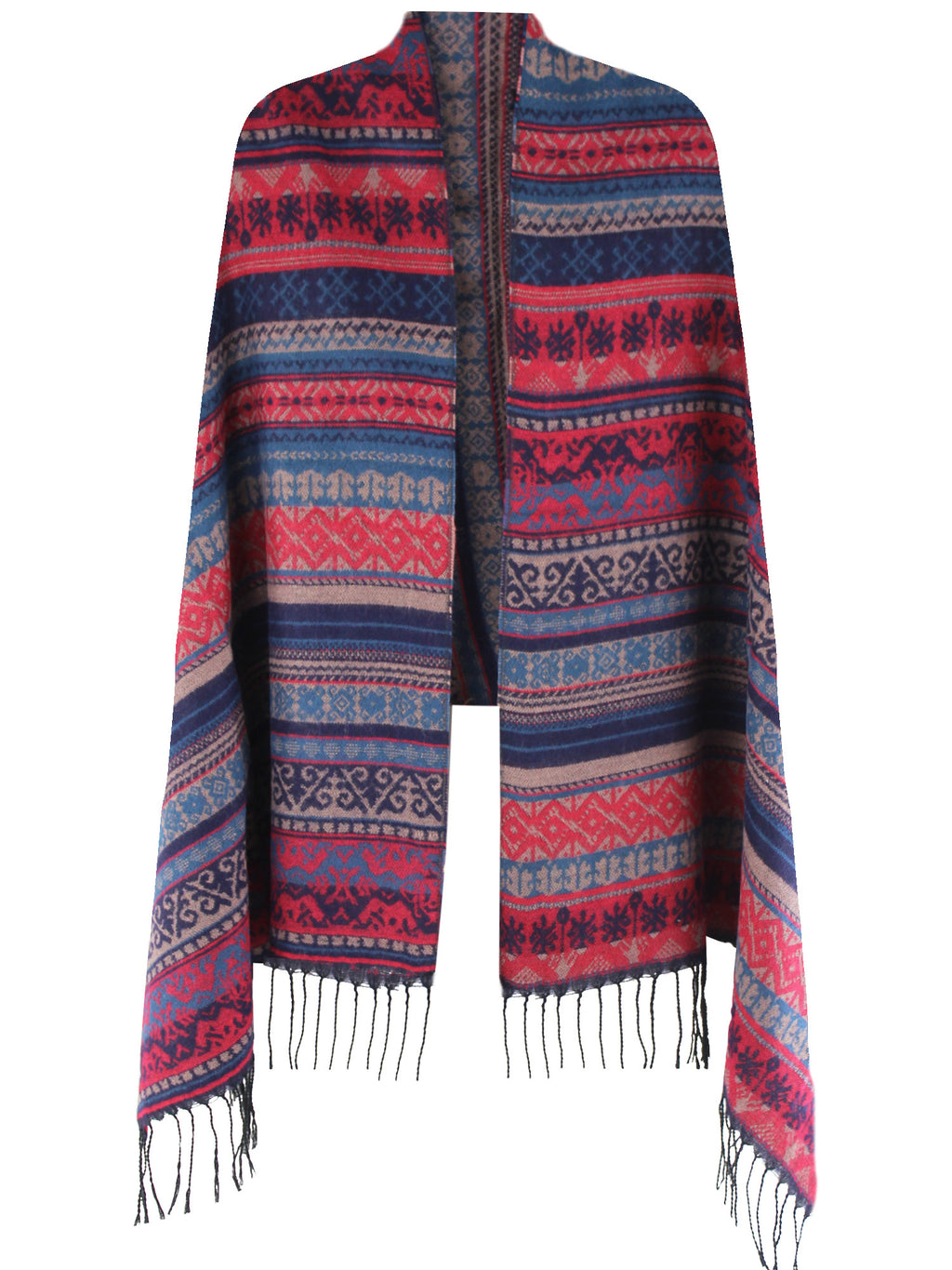 Multicolor Native American Print Blanket Scarf Wrap