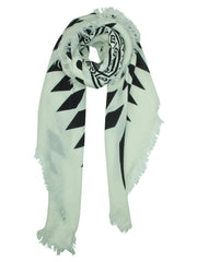 Black & White Tribal Knit Oversize Scarf Wrap