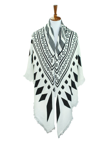 Black & White Tribal Knit Oversized Blanket Scarf Wrap