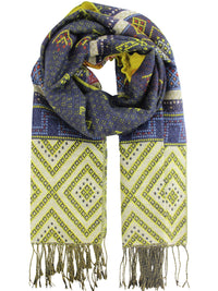 Multicolor Ikat Print Blanket Scarf Wrap With Metallic Trim