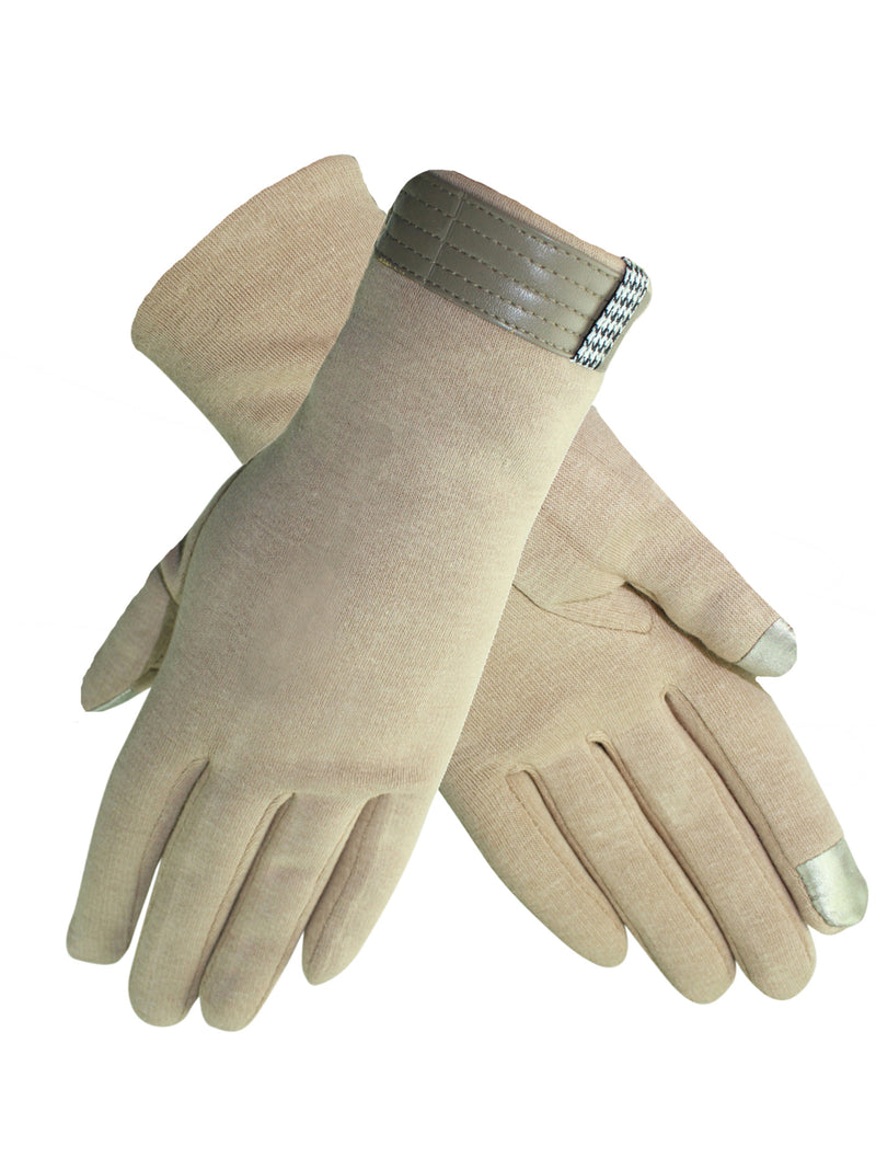 Womens Cotton Texting Gloves With Houndstooth Trim