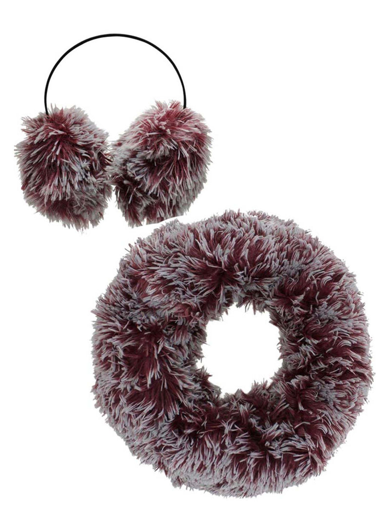 Two-Tone Faux Fur Infinity Scarf & Earmuff Set