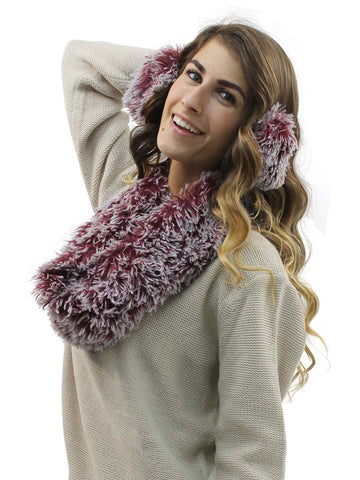 Burgundy Plush Faux Fur Infinity Scarf & Earmuff Set
