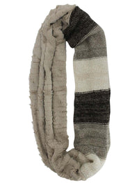 Color Block Faux Fur & Knit Infinity Scarf
