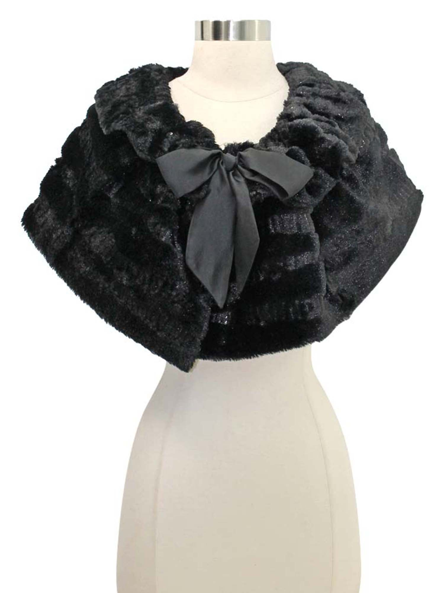 Plush Faux Fur Sequin Caplet With Satin Bow
