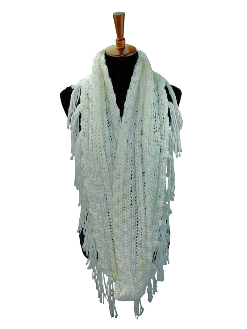 Knit Infinity Scarf With Draping Fringe