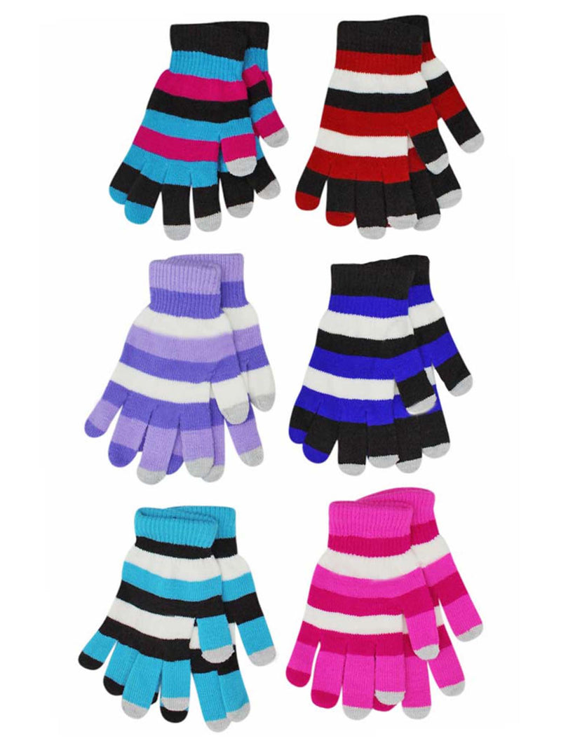 Multicolor Stripe Stretchy 6 Pack Womens Texting Gloves