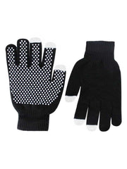 Black Non-Slip Knit Unisex Stretchy Texting Gloves