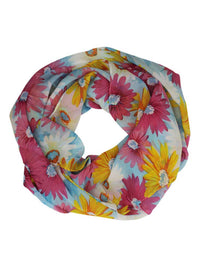 Colorful Italian Chiffon Flower Print Lightweight Circle Scarf