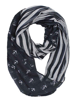Black & Gray Striped Anchor Print Lightweight Circle Scarf