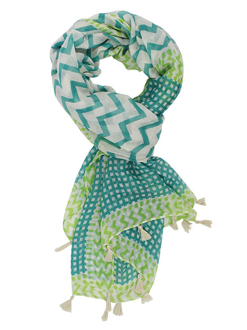 Teal & White Chevron Lightweight Scarf With Tassel Trim