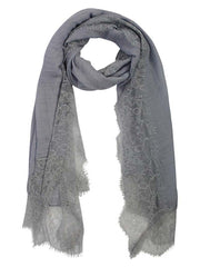 Lightweight Gauze Oblong Scarf With Lace Edging