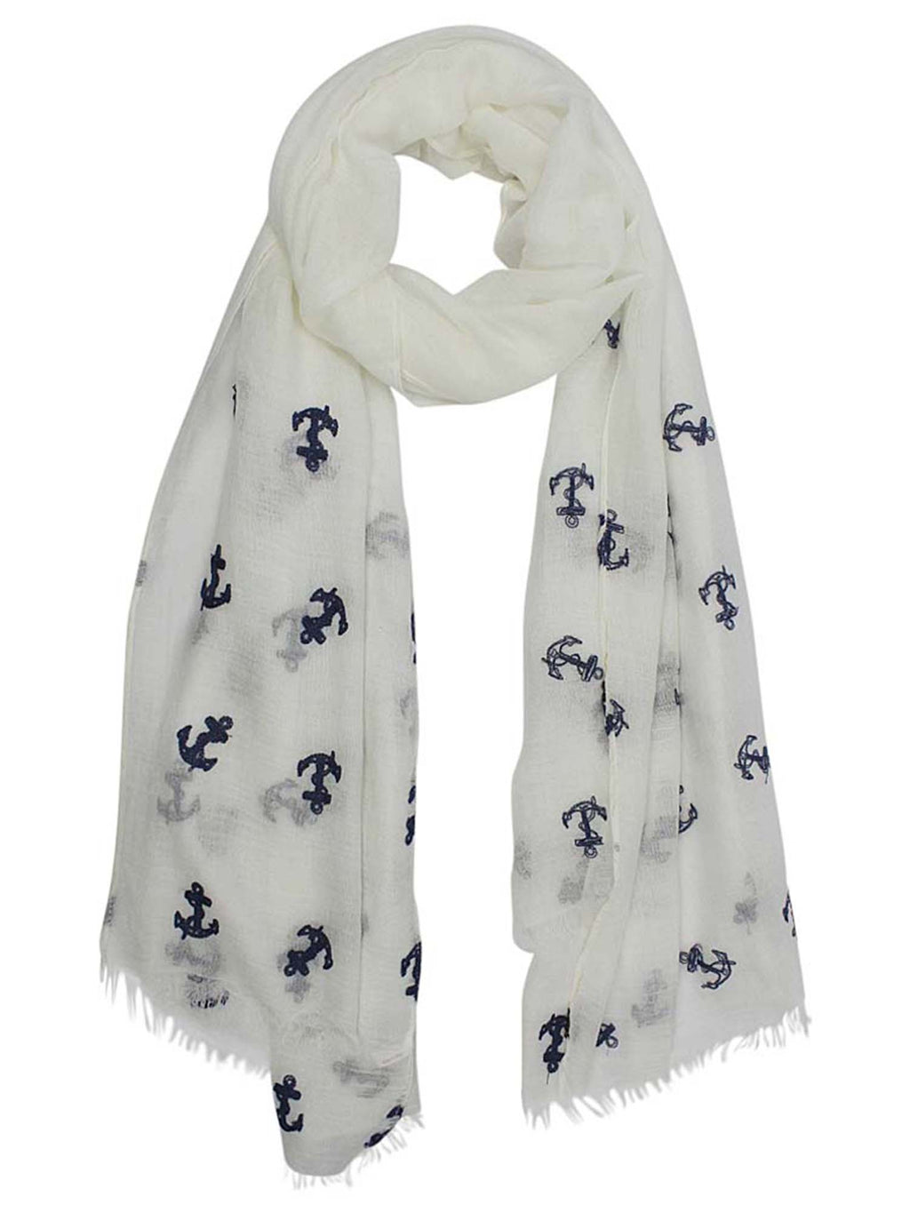 Lightweight Anchor Embroidered Shawl Wrap