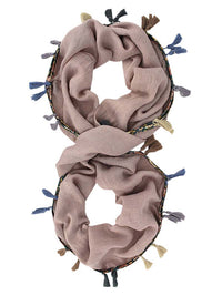 Jersey Knit Circle Scarf With Multicolor Tassels
