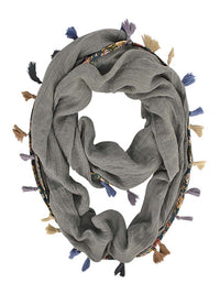 GREY JERSEY KNIT CIRCLE SCARF WITH TASSELS