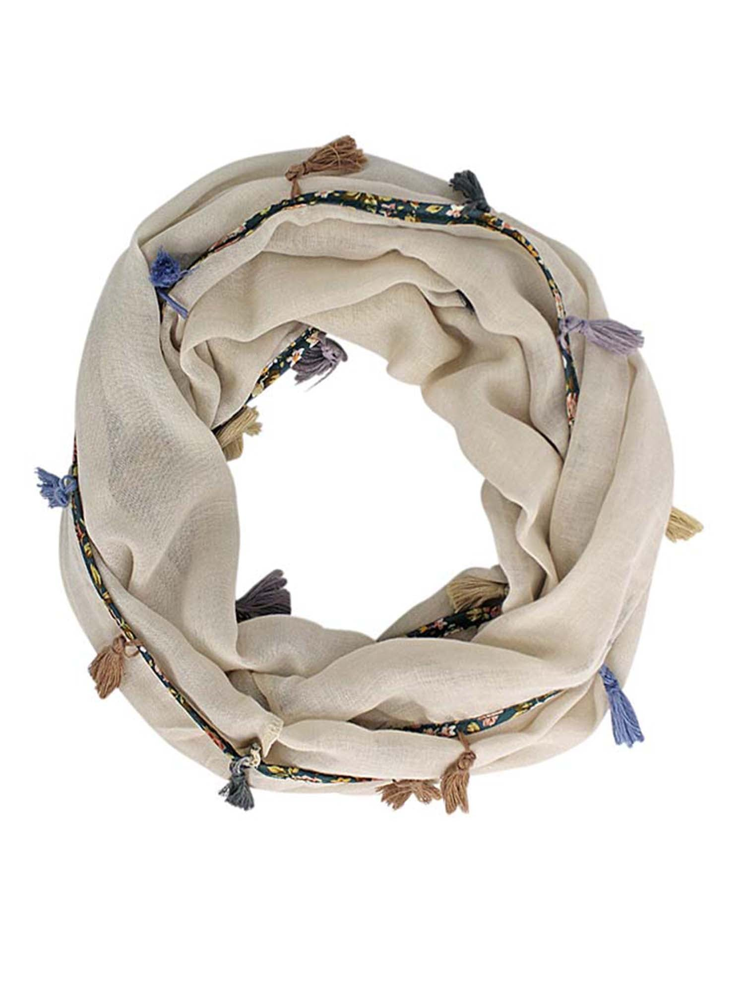 Grey Jersey Knit Circle Scarf With Multicolor Tassels