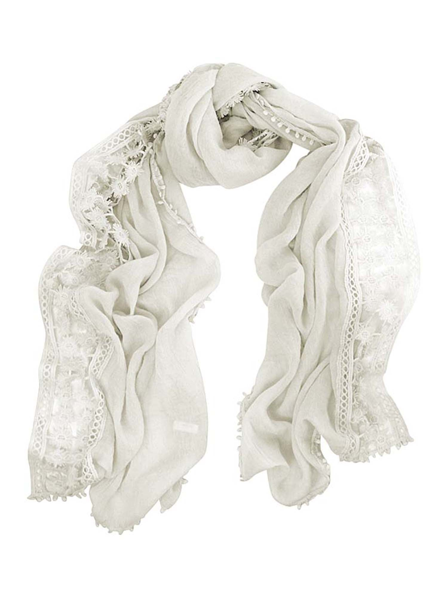 Lightweight Oblong Scarf With Crochet Lace Trim