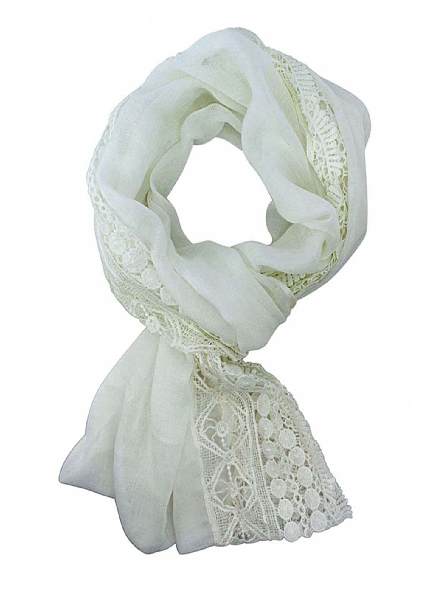 Lightweight Spring Circle Scarf With Crochet Lace