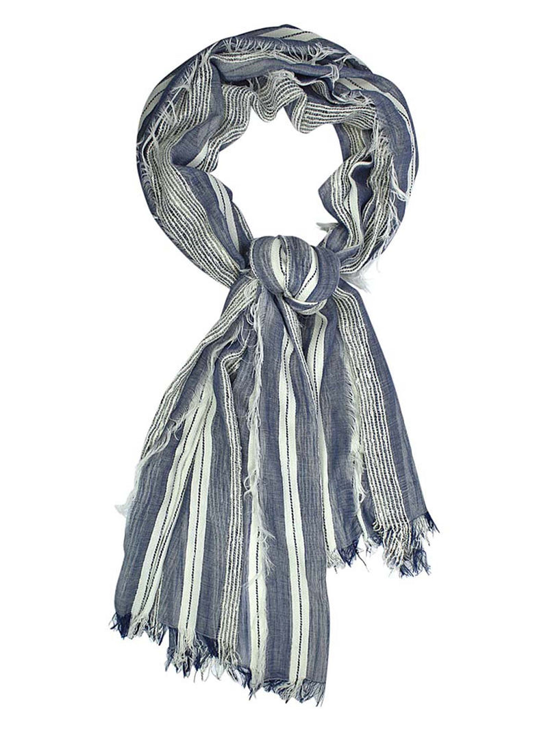 Blue Lightweight Scarf With Bold Knit & Frayed Fringe
