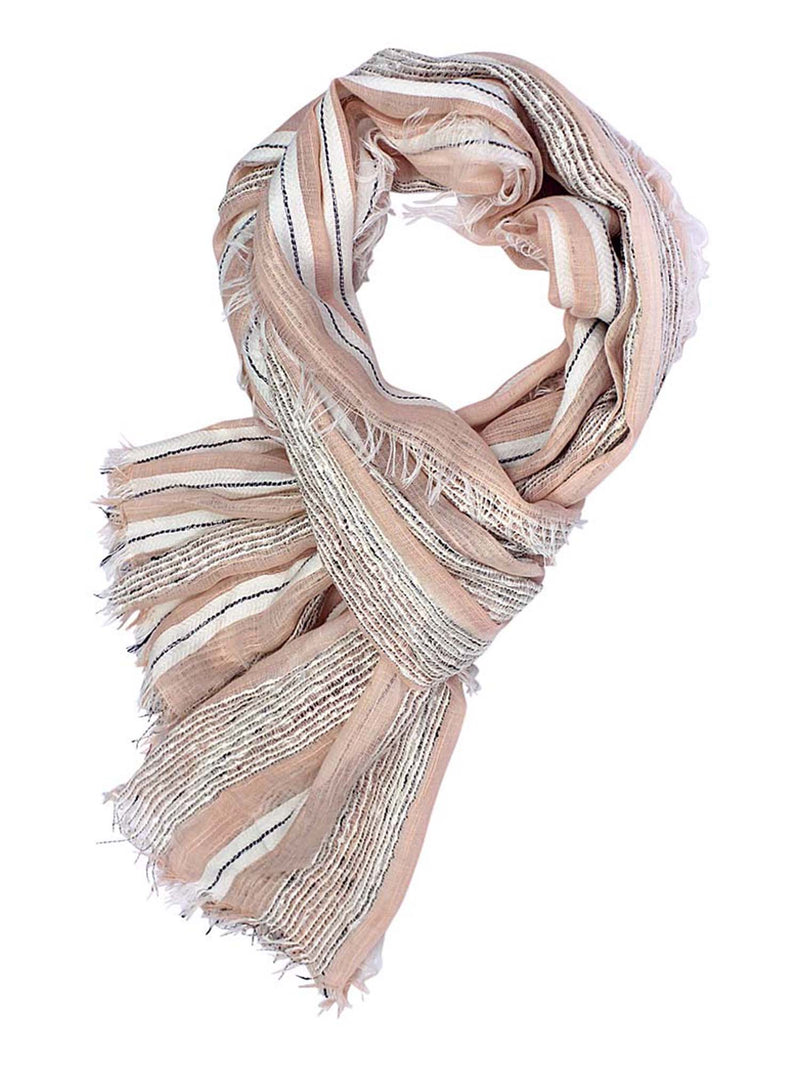 Lightweight Scarf With Bold Knit & Frayed Fringe