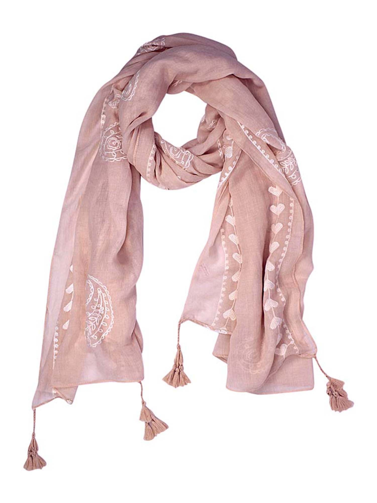 Paisley Heart Embroidered Boho Scarf With Tassel Trim