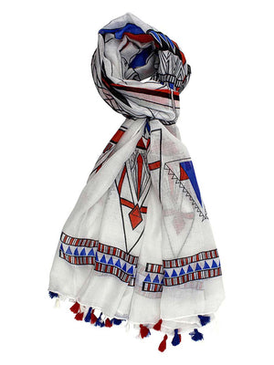 White Colorful Tribal Print Lightweight Scarf With Tassel Fringe