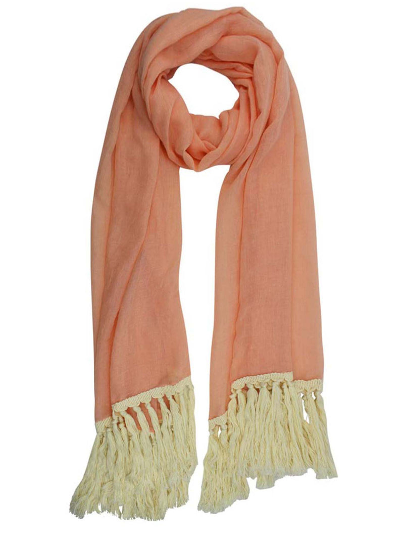 Scarf With Cotton Tassel Fringe