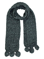 Thick Wide Ribbed Knit Scarf With Pom Poms