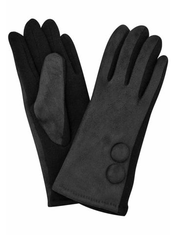 Faux Suede Classic Two Button Lined Womens Gloves