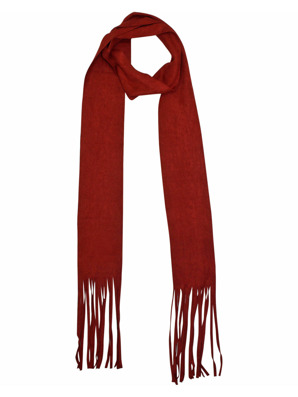 Soft Faux Suede Skinny Scarf With Fringe