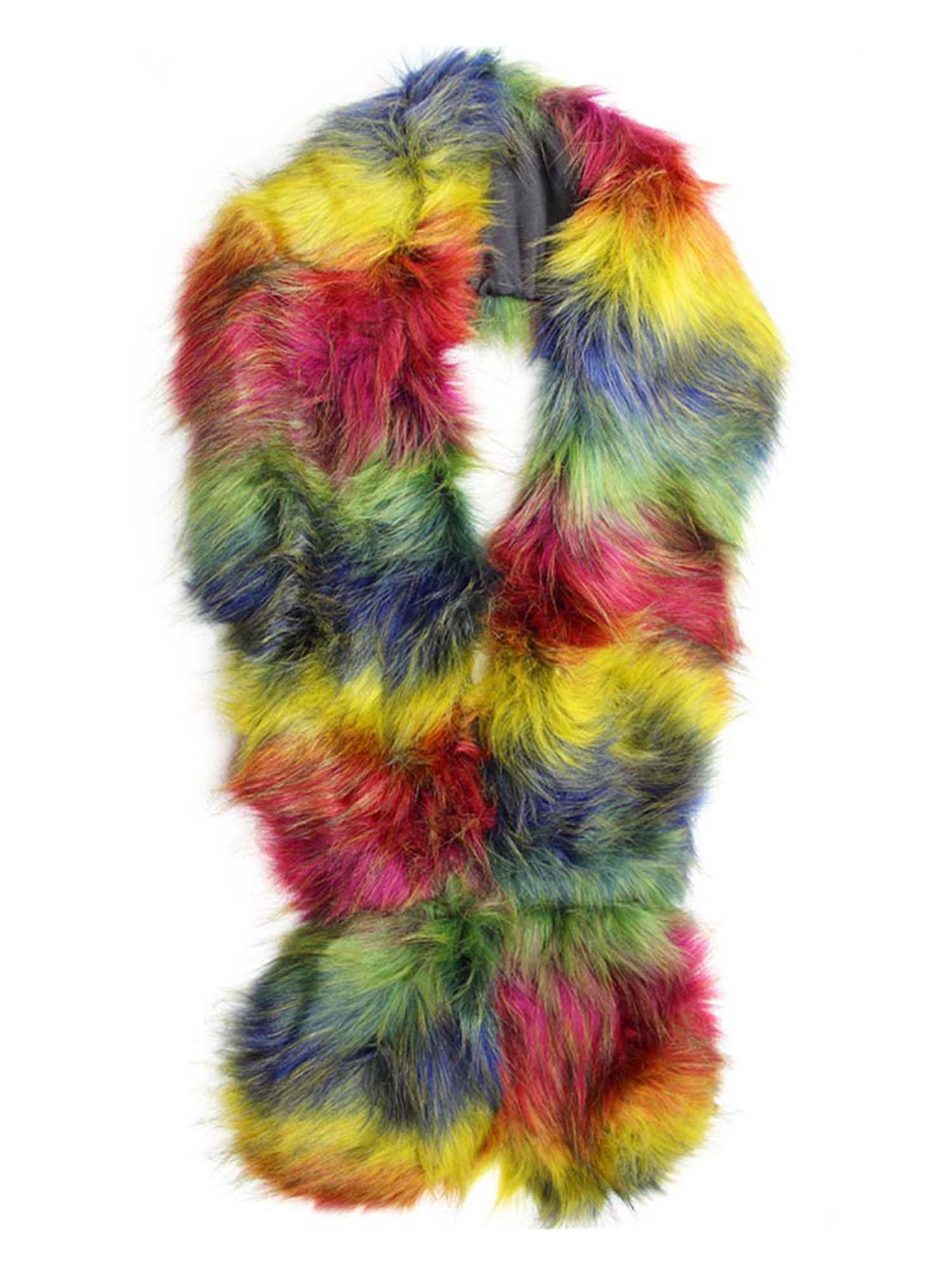 Rainbow Colorful Faux Fur Shoulder Wrap Scarf Stole
