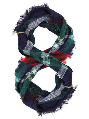 Classic Plaid Print Lightweight Circle Infinity Scarf