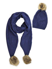 2-Piece Knit Slouchy Beanie Hat & Scarf Set With Fur Pom Poms