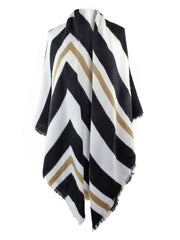 Ivory & Black Stripe Square Oversized Shawl Wrap