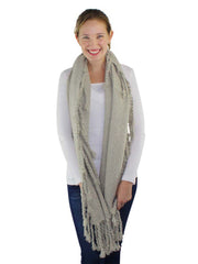 Chunky Knit Scarf With Braided Tassel Fringe