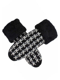 Womens Houndstooth Mittens With Fuzzy Cuff