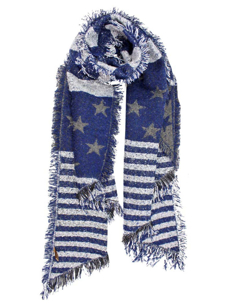 Draping Stars & Stripes Oblong Scarf Wrap