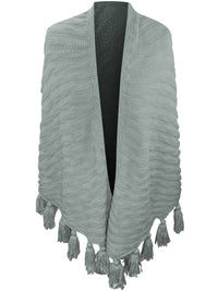 Textured Triangle Winter Knit Shawl Wrap With Tassels