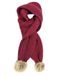 Chunky Knit Oblong Scarf With Faux Fur Pom Poms