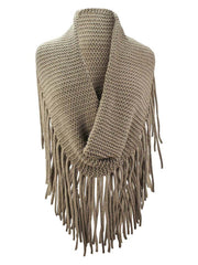 Thick Knit Wide Infinity Scarf With Extra Long Fringe