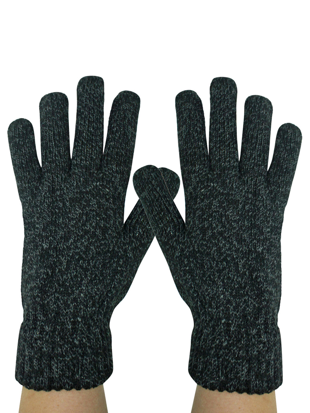 Mens 2 Pack Black & Gray Heavy Knit Winter Gloves