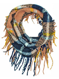 Knit Plaid Infinity Scarf With Fringe Finish