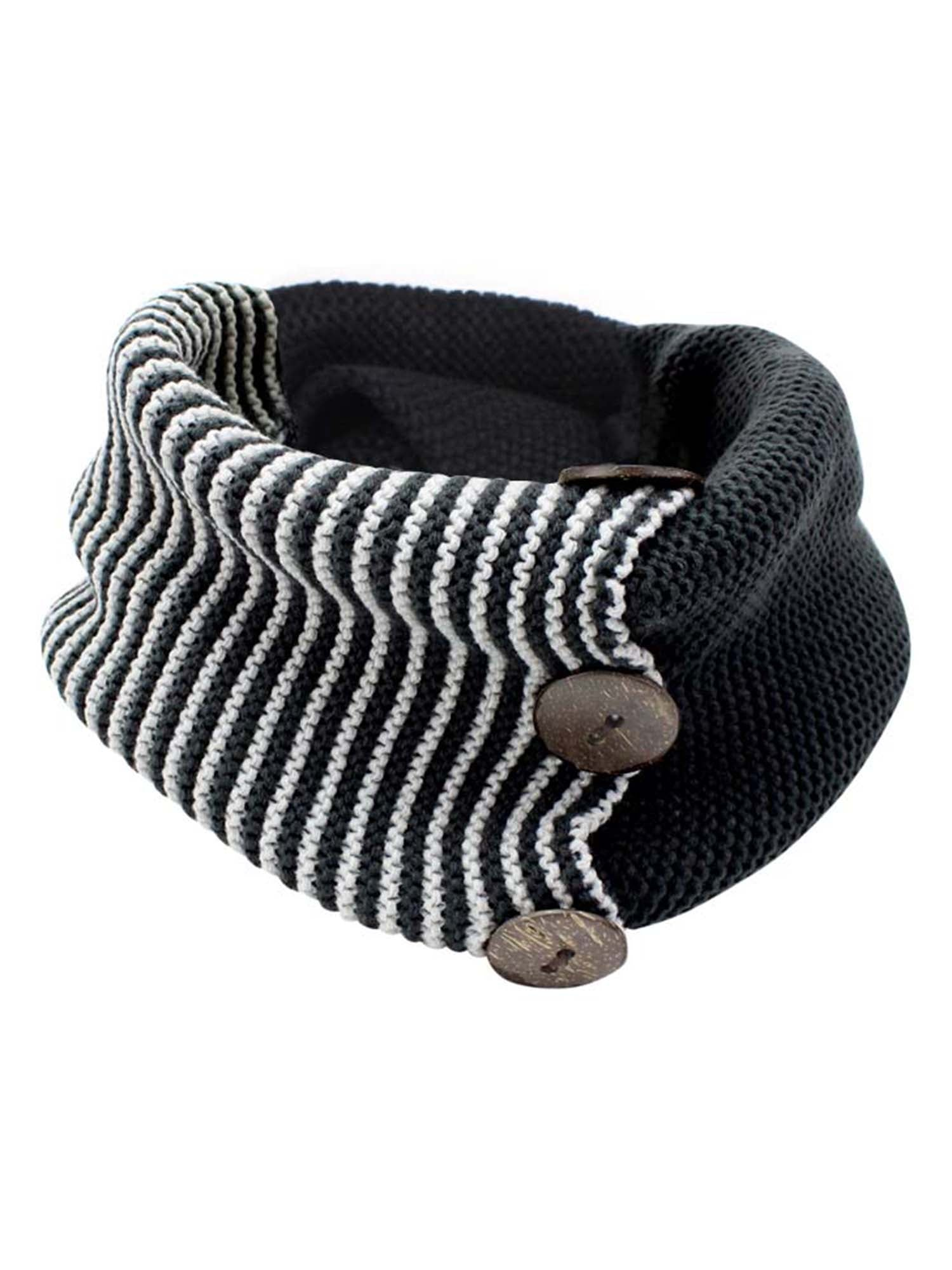 Stripe & Solid Knit Infinity Collar Scarf