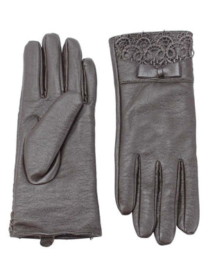 Faux Leather Gloves With Lace Cuff