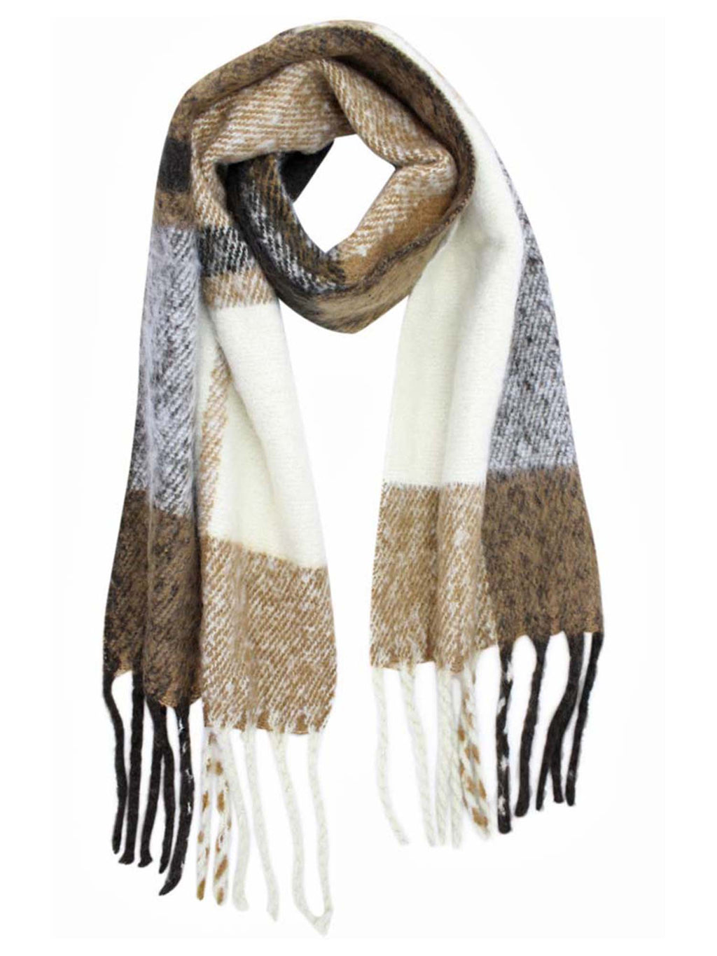 Unisex Plaid Print Soft Winter Scarf With Fringe