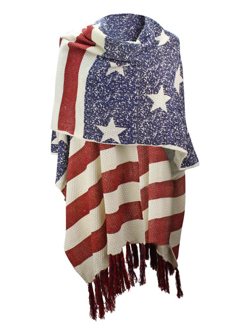 Americana Faded Flag Print Knit Shawl With Long Tassel Fringe