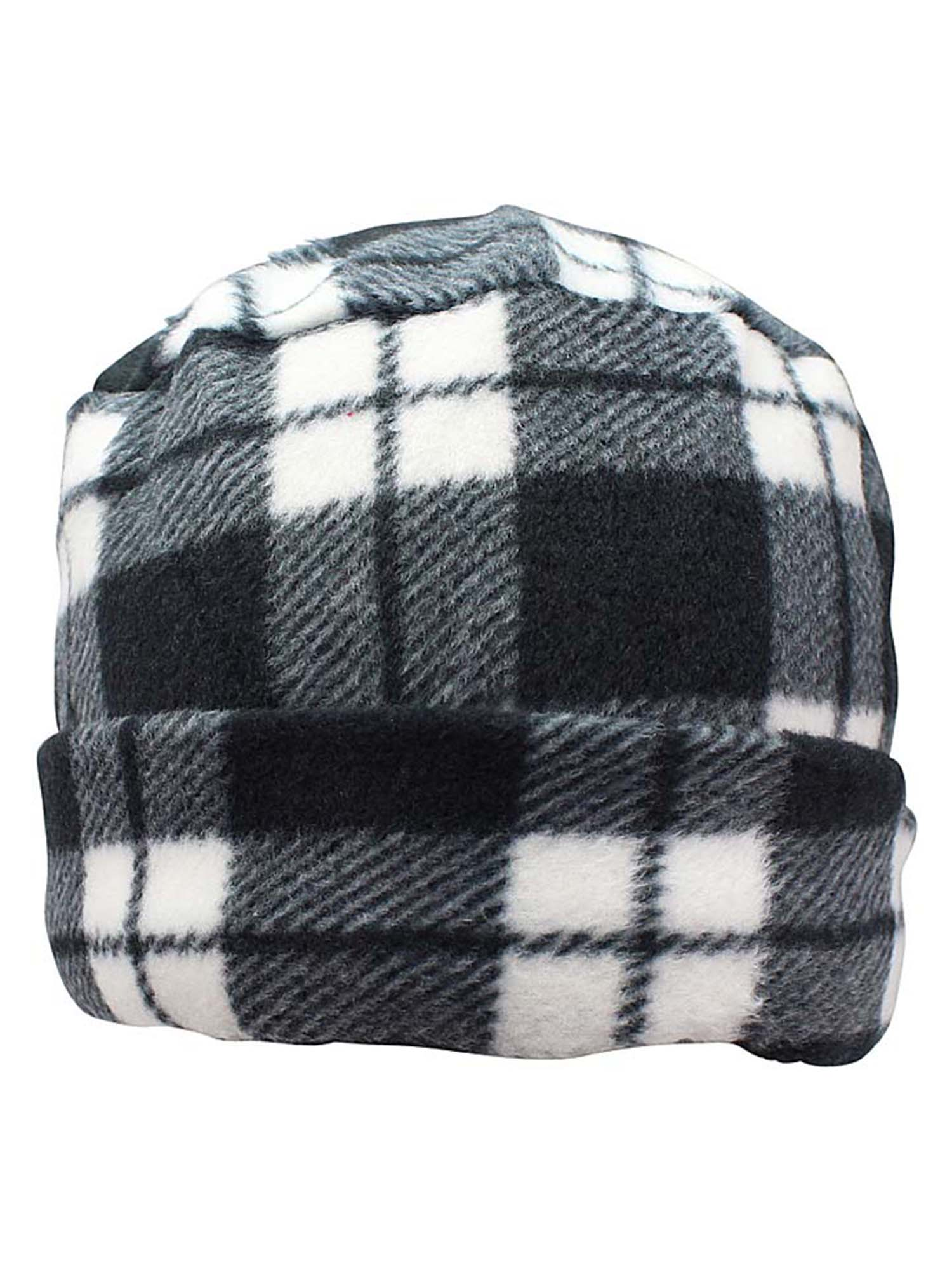Black & White Plaid Fleece 3-Piece Hat Scarf & Gloves Matching Set