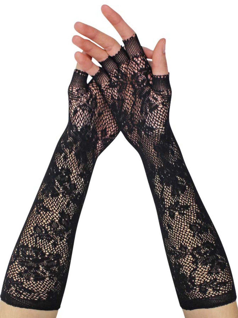 Black Vintage Lace Womens Long Fingerless Gloves